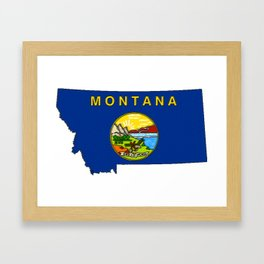 Montana Map with Montana State Flag Framed Art Print