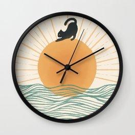 Good Morning Meow 7 Sunny Day Ocean  Wall Clock
