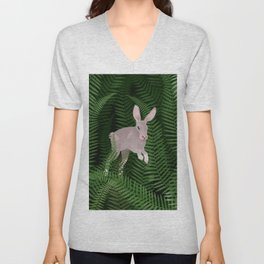 Fern field and wild rabbit  Unisex V-Neck