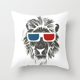 Lion with 3D sunglasses Throw Pillow