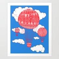 hot air balloon Art Prints featuring Hot Air Balloon by lush tart