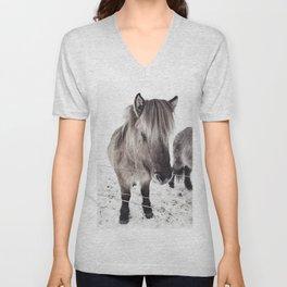 snowy Icelandic horse bw Unisex V-Neck