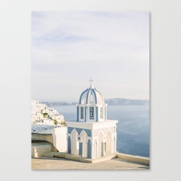 Pastel Blue Church Canvas Print