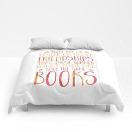 Bookish Friendship - Red/Orange Comforters