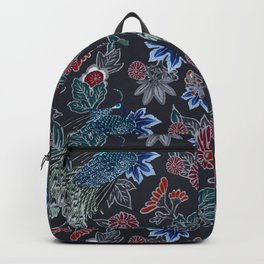 Peacock Floral in Midnight Backpack