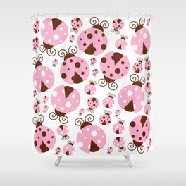 Ladybugs (Ladybirds, Lady Beetles) - Pink Brown Shower Curtain