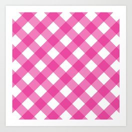 Pink & White Checkered Pattern-Mix and Match with Simplicity of Life Art Print