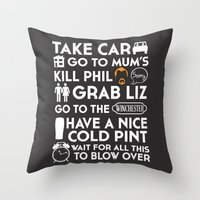 shaun of the dead Throw Pillows featuring SHAUN OF THE DEAD THE PLAN WHITE by thischarmingfan