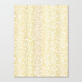 Luxe Gold Woven Burlap Texture Hand Drawn Vector Pattern Background Canvas Print