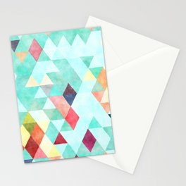 Modern abstract pink aqua turquoise watercolor geometrical Stationery Cards