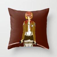 snk Throw Pillows featuring Bloody Armin by Paula Urruti