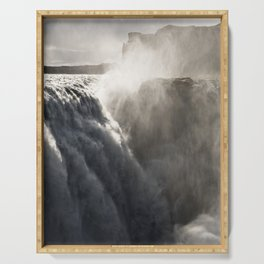 Dettifoss, Iceland - Minimalist Duotone Fine Art Photo Print Serving Tray