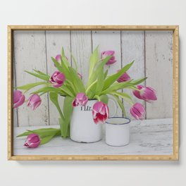 pink spring tulip still life country style Serving Tray