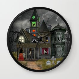 Halloween Haunted Mansion Wall Clock