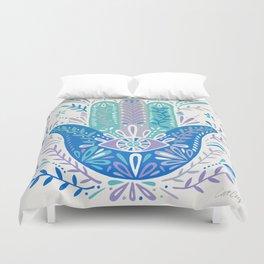 Hamsa Hand – Blue & Turquoise Palette Duvet Cover