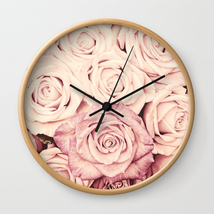 Some people grumble I Floral rose roses flowers pink Wall Clock