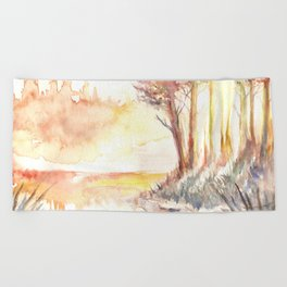 Watercolor Landscape 03 Beach Towel