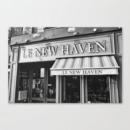 Le New Haven Restaurant - Black and White Version Canvas Print