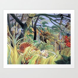 Tiger in a Tropical Storm (Surprised!) by Henri Rousseau 1891 // Jungle Rain Stormy Weather Scene Art Print