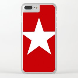 white star on red background Clear iPhone Case