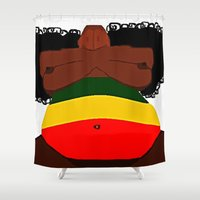 rasta Shower Curtains featuring Rasta Beauty by Courtney Ladybug Johnson