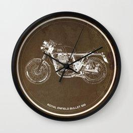 Royal Enfield motorcycle original circle art print and motorcycle quote Wall Clock