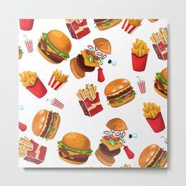 Burgers and Fries Foodie Pattern Metal Print