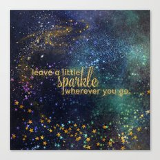 Leave a little sparkle wherever you go - gold glitter Typography on dark space backround Canvas Print