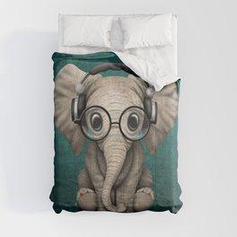 Cute Baby Elephant Dj Wearing Headphones and Glasses on Blue Comforters