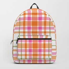 Summer Plaid Pink Orange Green White Backpack