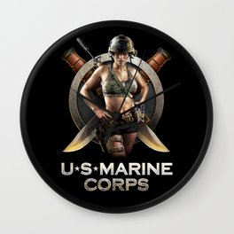 US Marine Warrior Pin-up Girl Wall Clock