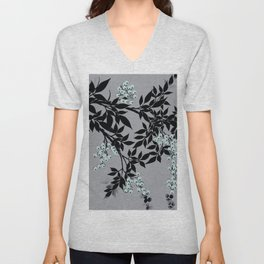 TREE BRANCHES BLACK AND GRAY WITH BLUE BERRIES Unisex V-Neck