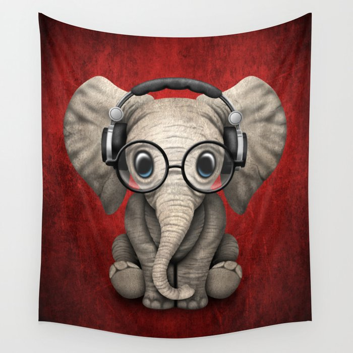 Cute Baby Elephant Dj Wearing Headphones and Glasses on Red Wall Tapestry