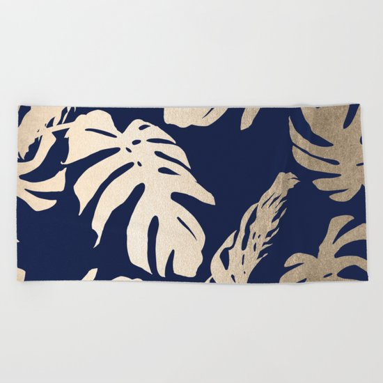 Simply Palm Leaves in White Gold Sands on Nautical Navy Beach Towel