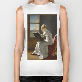 Young Woman Drawing - Marie Denise Villers Biker Tank