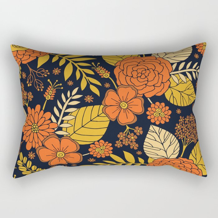 Retro Orange, Yellow, Brown, & Navy Floral Pattern Rectangular Pillow