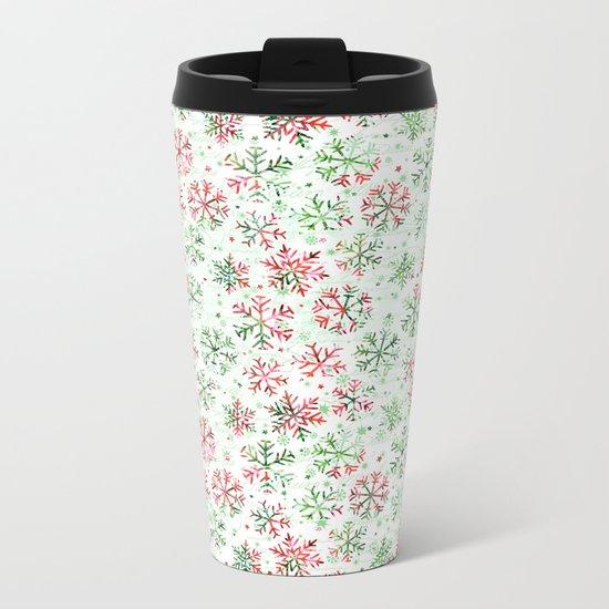 Red Green Snowflakes Metal Travel Mug