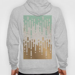 Marble and Geometric Diamond Drips, in Gold and Mint Hoody