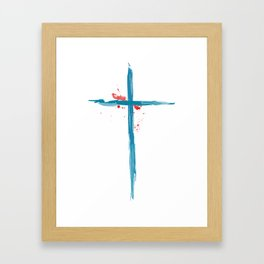 Waterbrush Cross Framed Art Print