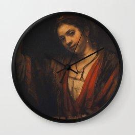 Rembrandt - Portrait of Hendrickje Stoffels (1656) Wall Clock