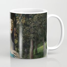 """""""Mystery woman in the forest among flowers"""" Coffee Mug"""