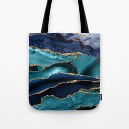 Ocean Blue Mermaid Marble Tote Bag