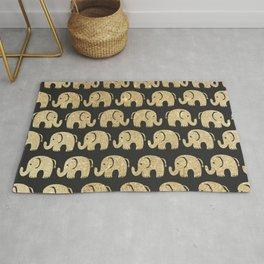 Sweet black and gold glitter cute elephant pattern Rug