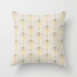 Golden Fan Leaf Art Deco Classic Pattern Throw Pillow