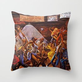 Classical Masterpiece 'Sugar Shack' by Ernie Barnes Throw Pillow