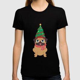 Decorated Christmas Tree Snuggle Pug Holiday design T-shirt