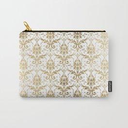 Elegant vintage white faux gold floral boutique damask Carry-All Pouch