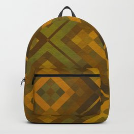 twyla - gold green brown textured geometric pattern Backpack