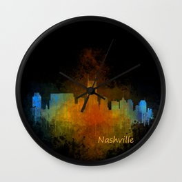 Nashville city skyline Tennessee watercolor v4 Dak Wall Clock