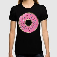 DONUT WORRY BE HAPPY Womens Fitted Tee LARGE Black